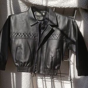 Children's faux leather jacket, in black.